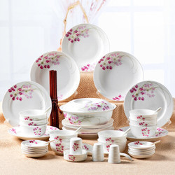 瓷魂 餐具套装56头 盘子碗筷套装 红袖添香