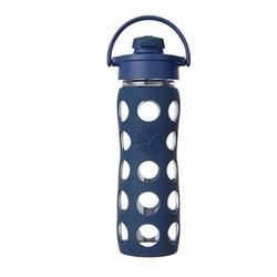 Lifefactory 翻转盖玻璃饮料瓶 475ml 深蓝色