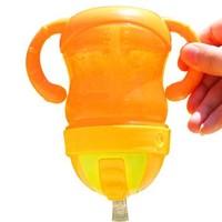 亲亲我(kidsme)宝宝双耳学饮杯儿童不漏吸管水杯双柄 240ML(橙色)