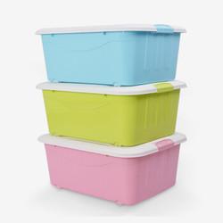 家乐铭品 收纳箱 塑料带盖收纳盒套装内衣收纳箱带盖子零食储物盒 -3只装DS139