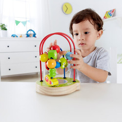 德国Hape 玩具宝宝花园E8031 宝宝益智智力创意串珠绕珠线珠