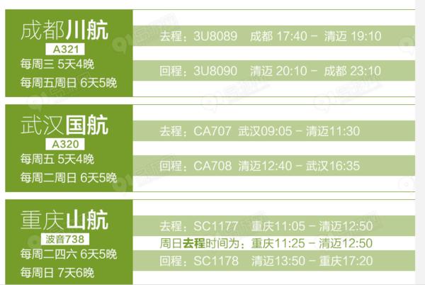 多家航司 成都/重庆/武汉直飞清迈5-7天往返含税机票