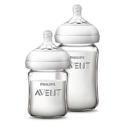AVENT 新安怡 SCF679/53 自然顺畅 宽口玻璃奶瓶 125ml+240ml套装  +凑单品