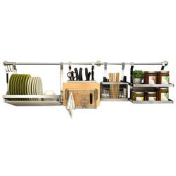 Micoe 四季沐歌 不锈钢厨房置物架  刀板架+筷笼架+碗架+三层调味架120杆