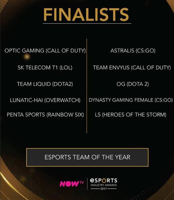 2017年最佳电竞战队提名公布,《绝地求生》开发商怒怼Epic Games