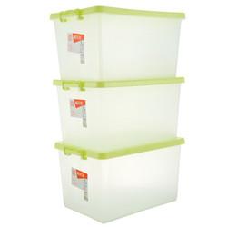 4日10点:禧天龙Citylong 塑料收纳箱整理箱大号衣物收纳箱环保储物箱3个装 本色绿40L 6047