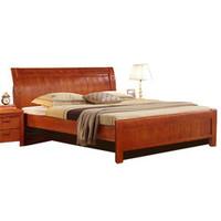 木巴  c205  中式实木双人床 1.8米 胡桃色