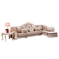 拉斐曼尼 FS050 欧式布艺沙发组合沙发 单人位+三人位+左贵妃榻+脚踏)