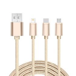 Viken 维肯 三合一尼龙苹果安卓通用充电线 type-c micro usb iphone Lightning 数据线 适用于 小米 华为 苹果7 iphone8 金色(仅充电)