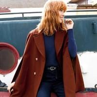 黑五全球购、值友专享 : Mademoiselle R 翻领双排扣斗篷外套