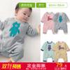 双11预售 千趣会BABY童装男女宝双面针织棉毛布附短内衣棉质连体衣B17592 79元