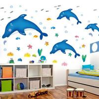 儿童房幼儿园卧室卡通海洋世界可移除墙贴画