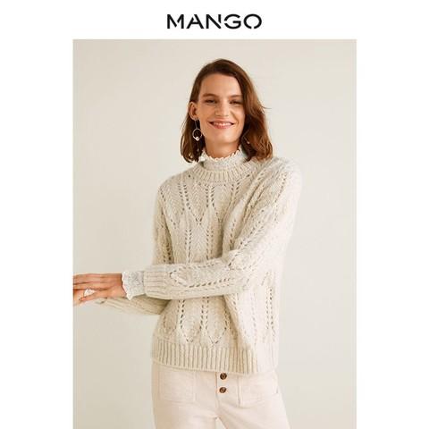 MANGO女装2018秋冬绞线编织套头毛衣 圆领宽松长袖针织衫33073823