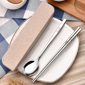 阳光飞歌 韩式餐具便携盒情侣款筷勺二件套装 礼盒版 *6件