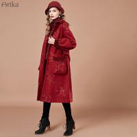 Artka阿卡2019冬新款灯笼袖羊毛呢大衣复古刺绣毛呢外套女中长款